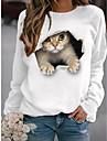 여성용 맨투맨 스웻티셔츠 풀오버 고양이 3D 동물 3D 프린트 일상 스포츠 3D 인쇄 활동적 스트리트 쉬크 후드 스웨트 셔츠 면 옐로우 블러슁 핑크 와인