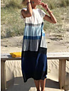 Women\'s Shift Dress Midi Dress Blue Short Sleeve Multi Color Stripes Classic Style Spring Summer Round Neck Ethnic Casual S M L XL XXL XXXL
