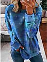 여성용 맨투맨 스웻티셔츠 타이-다이 일상 3D 인쇄 캐쥬얼 후드 스웨트 셔츠 루즈핏 푸른