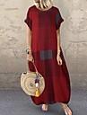 여성용 루즈핏 맥시 드레스 레드 와인 짧은 소매 멀티 컬러 사각형 봄 여름 캐쥬얼 루즈핏 2021 S M L XL XXL XXXL 4XL 5XL