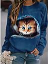 여성용 맨투맨 스웻티셔츠 풀오버 고양이 3D 동물 3D 프린트 일상 스포츠 3D 인쇄 활동적 스트리트 쉬크 후드 스웨트 셔츠 푸른