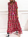 Γυναικεία Φόρεμα ριχτό από τη μέση και κάτω Μακρύ φόρεμα Γκρίζο Μαύρο Ρουμπίνι Μακρυμάνικο Συμπαγές Χρώμα Σκελετός Κλασσικό στυλ Άνοιξη Καλοκαίρι Λαιμόκοψη Υ Etnic Καθημερινό 2021 Τ M L XL XXL XXXL
