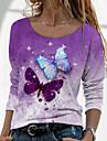 Női Pillangó Festmény Póló Pillangó Batikolt Hosszú ujj Nyomtatott Kerek Alap Szüret Felsők Normál Medence Bíbor Arcpír rózsaszín / 3D nyomtatás