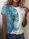 Dámské Obraz Tričko Barevné bloky Peří Tisk Kulatý Základní Topy Vodní modrá