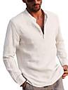 Chemise Homme Couleur unie Bouton bas Manches Longues Plein Air Quotidien Exterieur Standard Lin Simple Confortable Henley