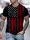 男性用 男女兼用 Tシャツ シャツ 3Dプリント グラフィック フラッグ プリント 半袖 日常 トップの カジュアル デザイナー 大きくて背が高い ブラック / レッド