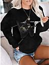 여성용 맨투맨 스웻티셔츠 풀오버 고양이 3D 동물 3D 프린트 일상 스포츠 3D 인쇄 활동적 스트리트 쉬크 후드 스웨트 셔츠 블랙