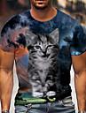 Tee T-shirt Chemise Homme Unisexe 3D effet Chat Imprimes Photos Imprime Manches Courtes Quotidien Vacances Standard Polyester Simple Designer Grand et grand Col Ras du Cou / Ete