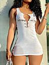 Women\'s Sheath Dress Short Mini Dress White Sleeveless Letter Ruched Print Summer Round Neck Casual Sexy 2021 S M L