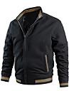 בגדי ריקוד גברים ג\'קט יומי סתיו רגיל מעיל רגיל נושם יום יומי Jackets שרוול ארוך אחיד טלאים פול צהוב שחור / כותנה