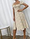 여성용 스윙 드레스 맥시 드레스 옐로우 짧은 소매 꽃장식 스플리트 주름 잡힌 봄 여름 오프 숄더 캐쥬얼 섹시 홀리데이 2021 S M L