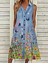 Women\'s Denim Shirt Dress Midi Dress Picture color Sleeveless Butterfly Flower Button Spring Summer Collar Casual Holiday 2021 S M L XL XXL