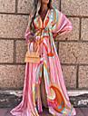 Women\'s Swing Dress Maxi long Dress Blushing Pink 3/4 Length Sleeve Floral Lace up Zipper Button Fall Spring V Neck Boho Holiday Beach Butterfly Sleeve 2021 S M L XL XXL / Print