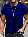 Hombre Unisexo Tee Camiseta Camisa Impresion 3D Geometrico Estampados Estampado Manga Corta Diario Tops Casual De Diseno Grande y alto Azul Piscina Morado Amarillo / Verano