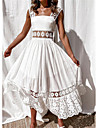 Women\'s Swing Dress Maxi long Dress White Sleeveless Solid Color Lace Patchwork Spring Summer Square Neck Casual Holiday 2021 S M L XL XXL 3XL / Party