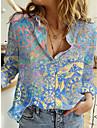 Dámské Květinový motiv Geometrický Halenka Košile Květinový Geometrické tvary Dlouhý rukáv Tisk Košilový límec Základní Topy Vodní modrá Fialová Žlutá