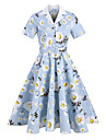 Women\'s Midi Dress Light Blue Short Sleeve Flower Vintage Style Spring Summer Collar Active Elegant 2021 S M L XL XXL