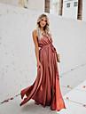 Γυναικεία Φόρεμα ριχτό από τη μέση και κάτω Μακρύ φόρεμα Κίτρινο Ανθισμένο Ροζ Πράσινο του τριφυλλιού Αμάνικο Συμπαγές Χρώμα Σκίσιμο Με Κορδόνια Άνοιξη Καλοκαίρι Κομψό Σέξι Πάρτι Αργίες 2021 Τ M L XL