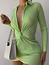 Women\'s Sheath Dress Short Mini Dress Green Black Long Sleeve Solid Color Fall Summer V Neck Casual Sexy 2021 S M L
