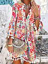 Women\'s A Line Dress Short Mini Dress Red 3/4 Length Sleeve Floral Paisley Tassel Fringe Ruched Print Spring Summer V Neck Ethnic Style Boho Holiday Beach Flare Cuff Sleeve 2021 S M L XL XXL XXXL