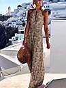 Γυναικεία Φόρεμα ριχτό από τη μέση και κάτω Μακρύ φόρεμα Κίτρινο Χακί Ρουμπίνι Πράσινο Ανοικτό Αμάνικο Φλοράλ Εξώπλατο Στάμπα Καλοκαίρι Δένει στο Λαιμό Καθημερινό 2021 Τ M L XL