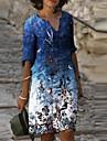 Women\'s T Shirt Dress Tee Dress Knee Length Dress Blue Half Sleeve Floral Print Summer V Neck Casual 2021 S M L XL XXL 3XL