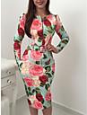 Women\'s Sheath Dress Midi Dress Green Long Sleeve Flower Zipper Print Spring Summer Round Neck Elegant 2021 S M L XL