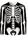 Men\'s T shirt Graphic Skull Print Long Sleeve Halloween Tops Streetwear Round Neck Black