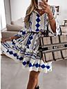 Women\'s A Line Dress Short Mini Dress White Long Sleeve Polka Dot Print Ruffle Patchwork Print Fall Spring V Neck Elegant Casual Holiday 2021 S M L XL