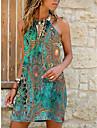 Women\'s Strap Dress Short Mini Dress Blue Green Light Blue Sleeveless Floral Color Gradient Print Summer Halter Neck Casual 2021 S M L XL XXL 3XL