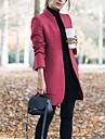 Γυναικεία Παλτό Μονόχρωμο Βασικό Παλτό Φθινόπωρο Χειμώνας Δρόμος Ανοικτό Μπροστά Μακρύ Σακάκια Θαλασσί / Άνοιξη / Κολάρο Πουκαμίσου / Μεγάλα Μεγέθη