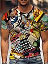 Pánské Unisex Trička Tričko Košile 3D tisk Grafické tisky Olejomalba Tisk Krátký rukáv Denní Topy Na běžné nošení Designové Velký a vysoký Žlutá