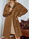여성용 코트 일상 작동 가을 겨울 긴 코트 셔츠 카라 보통 베이직 스트리트 쉬크 자켓 긴 소매 솔리드 브라운