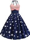 Women\'s A Line Dress Midi Dress Dark Blue Sleeveless Print Summer Vintage 2021 S M L XL XXL