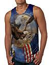 Men\'s Tank Top Undershirt 3D Print Graphic Prints Eagle Flag Print Sleeveless Daily Tops Casual Designer Big and Tall Blue
