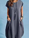 Women\'s Shift Dress Midi Dress Blue Gray Black Short Sleeve Solid Color Pocket Spring Summer Round Neck Casual 2021 S M L XL XXL XXXL 4XL / Holiday