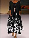 Női A vonalú ruha Maxi hosszú ruha Kép színfoltja Hosszú ujj Virágos Nyomtatott Tavasz, Ősz, Tél, Nyár Kerek Alkalmi 2021 S M L XL XXL XXXL 4 XL 5 XL