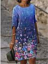 Női A vonalú ruha Térdig érő ruha Medence Féhosszú Virág Nyomtatott Tavasz Nyár Kerek Alkalmi 2021 S M L XL XXL XXXL / Szabadság