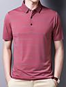 رجالي قميص الجولف مخطط كم قصير فضفاض قمم بسيط وردي بلاشيهغ رمادي أخضر