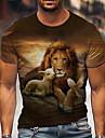 Herren Unisex Tee T-Shirt Hemd 3D-Druck Grafik-Drucke Loewe Druck Kurzarm Alltag Oberteile Freizeit Designer Gross und hoch Braun