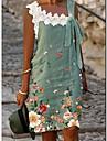 Női A vonalú ruha Térdig érő ruha Lóhere Ujjatlan Virág Fűzős Csipke Tavasz Nyár Csónaknyak Alkalmi Szabadság 2021 S M L XL XXL