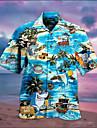 Pánské Košile Horká ražba Žralok 3D Krátký rukáv Dovolená Topy Havajské Vodní modrá