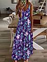 Női A vonalú ruha Maxi hosszú ruha Bíbor Ujjatlan Virágos Nyomtatott Nyár V-alakú Alkalmi Szabadság 2021 S M L XL XXL 3XL