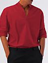 Męskie Koszula Równina Niejednolita całość Długi rękaw Codzienny Najfatalniejszy Biznes Prosty Lekki Podstawowy Biały Czarny Czerwony