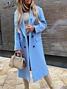 여성용 피 코트 거리 일상 데이트 가을 겨울 긴 코트 보통 따뜨하게 유지 통기성 캐쥬얼 자켓 긴 소매 한 색상 퀼트 푸른 그레이 카키 / 작동
