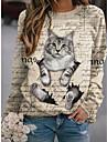 여성용 맨투맨 스웻티셔츠 풀오버 고양이 3D 텍스트 3D 프린트 일상 스포츠 3D 인쇄 활동적 스트리트 쉬크 후드 스웨트 셔츠 옐로우 그레이