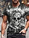 Per uomo Unisex Magliette maglietta Camicia Stampa 3D Stampe astratte Teschi Con stampe Manica corta Quotidiano Standard Top Casuale Originale Grande e alto Grigio / Estate