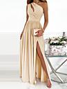 Γυναικεία Φόρεμα για πάρτυ Μακρύ φόρεμα Θαλασσί Κόκκινο Ανοικτό Dusty Rose Πράσινο του τριφυλλιού Ουράνιο Τόξο Λευκό Μαύρο Ρουμπίνι Μπεζ Σκούρο μπλε Αμάνικο Φλοράλ Συμπαγές Χρώμα Σκίσιμο Στάμπα