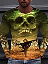 Ανδρικά Γιούνισεξ Κοντομάνικα Μπλουζάκι Πουκάμισο 3D εκτύπωση Γραφικά Σχέδια Κολοκύθα Στάμπα Μακρυμάνικο Απόκριες Άριστος Καθημερινό Υψηλής Ποιότητας Μεγάλο και ψηλό Πορτοκαλί