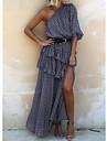 Γυναικεία Φόρεμα ριχτό από τη μέση και κάτω Μακρύ φόρεμα Γκρίζο Χακί Ρουμπίνι Μισό μανίκι Κουκκίδα Πολυεπίπεδο Σκίσιμο Με Βολάν Άνοιξη Καλοκαίρι Ένας Ώμος Ενεργό Καθημερινό 2021 Τ M L XL XXL XXXL